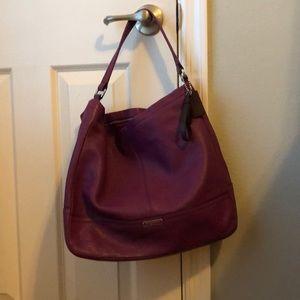 Authentic Plum Leather Coach Bucket Bag
